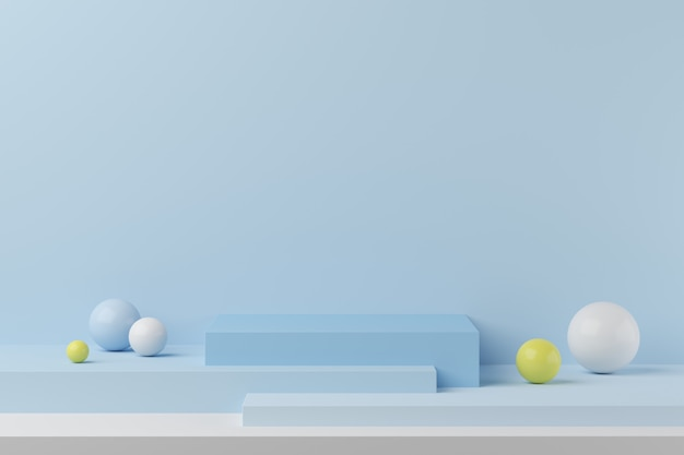 製品のカラフルなボールと青い背景に抽象的な幾何学図形青い色表彰台。最小限の概念3dレンダリング