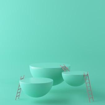 幾何学的形状の表彰台と階段と抽象的な緑の背景。 3dレンダリング