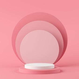 製品のピンク色の背景に抽象的な幾何学形状の白い色とピンク色の表彰台。最小限の概念3dレンダリング