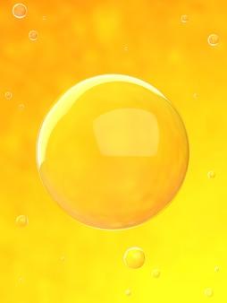 オレンジ色の水の中の泡3dレンダリング