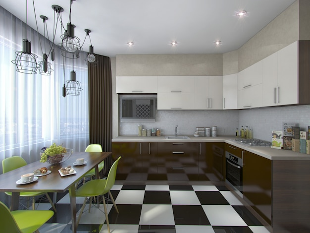 Иллюстрация 3d современной кухни в коричневых и бежевых тонах