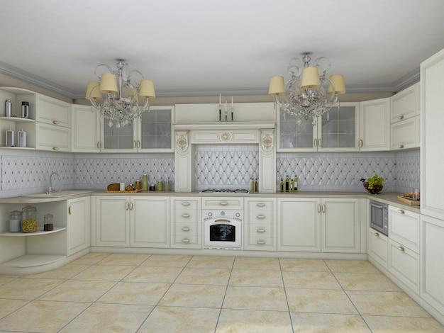 3d иллюстрации белой кухни в классическом стиле