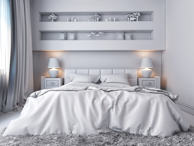 Иллюстрация 3d белой спальни в классическом стиле