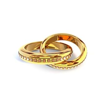 Золотые кольца с бриллиантами на белом фоне. 3d иллюстрация, визуализация