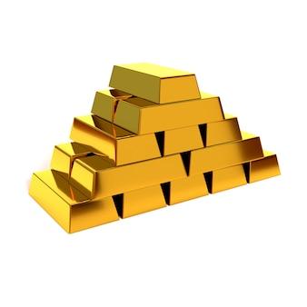 白い背景の上の光沢のある金の延べ棒のピラミッド。 3dイラスト、レンダリングします。経済的な成功と繁栄の概念