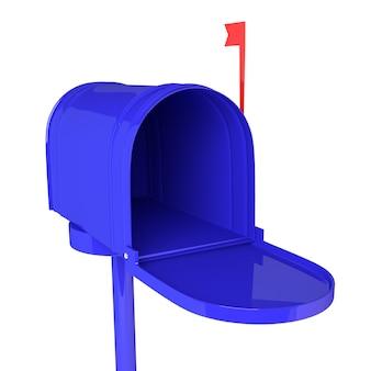 白い背景の上の文字で青いメールボックスを開きます。 3dイラスト、レンダリング