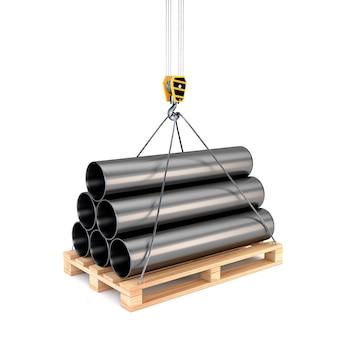 Иконка труба на поддоне с крюком крана на белом фоне. проектирование логистических услуг: складирование, транспортировка / доставка. 3d иллюстрации