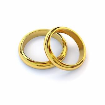 Две золотые обручальные кольца на белом фоне. 3d визуализация.