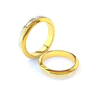 Два золотых обручальных кольца на белом фоне. 3d визуализация.
