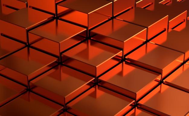 赤の抽象的な立方体の背景。 3dレンダリング