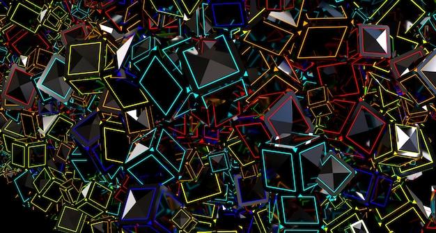 キューブと明るい抽象的な背景。 3dレンダリング