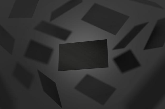 Пустые черные визитные карточки падают, 3d рендеринг фон