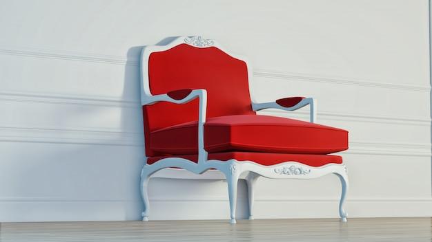 内壁に古典的な赤い肘掛け椅子。 3dレンダリング
