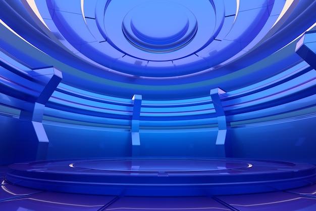 未来的な空のステージ。光沢のあるインテリアのコンセプト。 3dレンダリング。