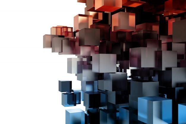キューブと実像のモダンな背景。 3dレンダリング