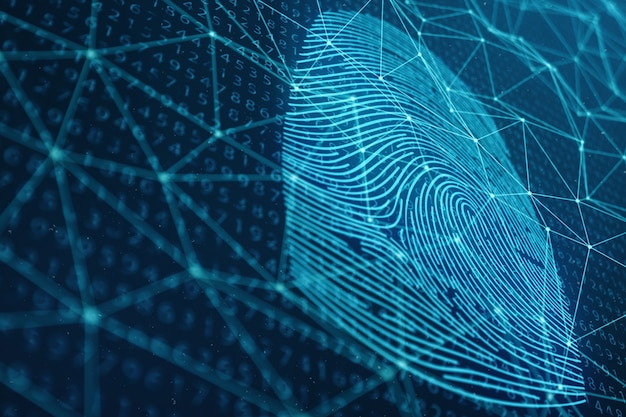 3dイラストレーション指紋スキャンは、生体認証によるセキュリティアクセスを提供します。コンセプト指紋保護。バイナリコードによる指紋。デジタルセキュリティの概念