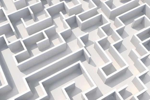 Концепция белый лабиринт стены вид сверху. 3d иллюстрация
