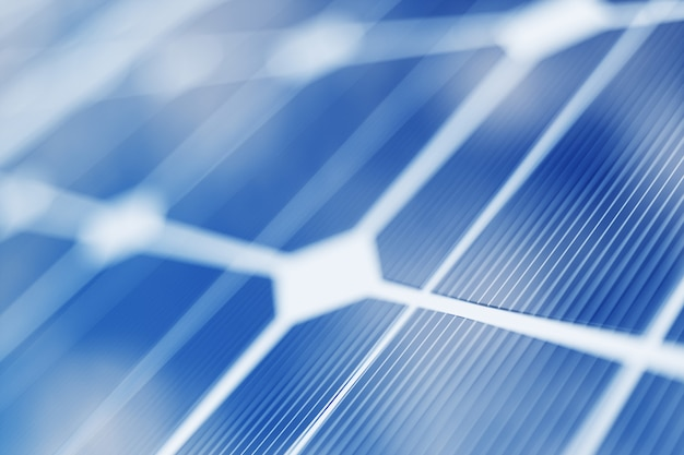 3d рендеринг технологии производства солнечной энергии. альтернативная энергетика. модули панели солнечных батарей с голубым небом