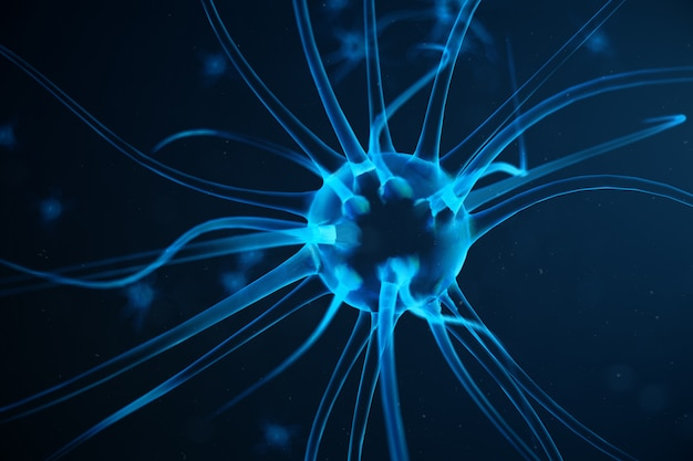 Абстрактные нейронные клетки с узлами связи. синапс и нейронные клетки посылают электрические химические сигналы. нейрон взаимосвязанных нейронов с электрическими импульсами, 3d иллюстрации
