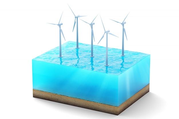 Перевод 3d поперечного сечения куба воды изолированного на белизне. ветровые турбины в море, производящие чистую энергию