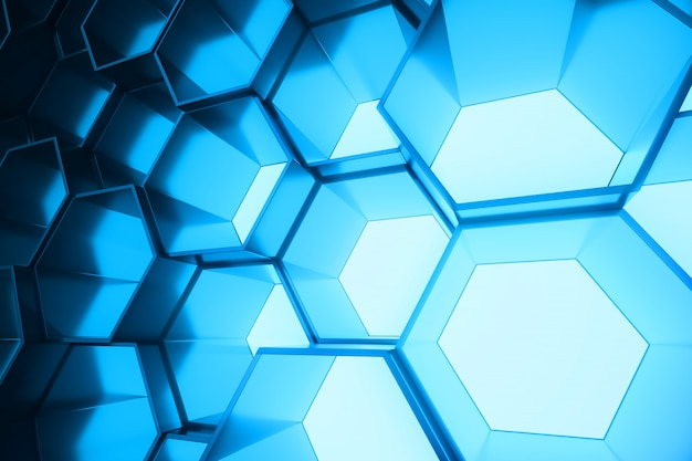 Абстрактный синий футуристический поверхности шестиугольника, гексагональной соты со световыми лучами, 3d-рендеринга