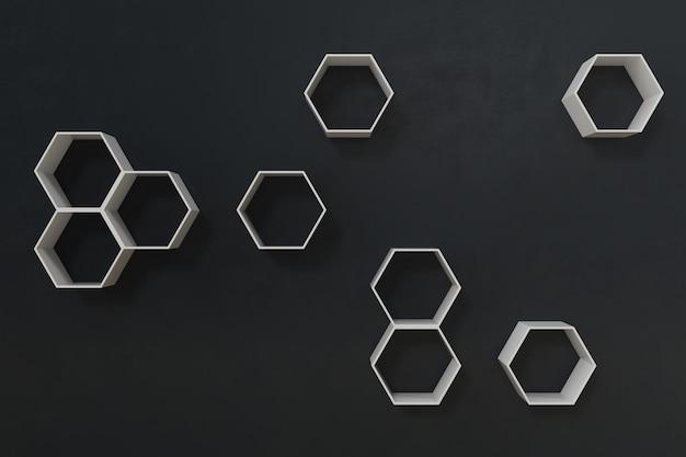 Пустая темная или черная стена с шестиугольными полками на стене, 3d-рендеринг