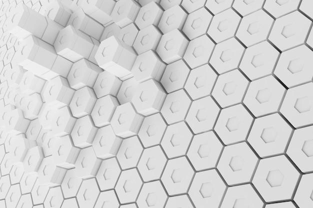 Белая геометрическая шестиугольная абстрактная предпосылка, перевод 3d