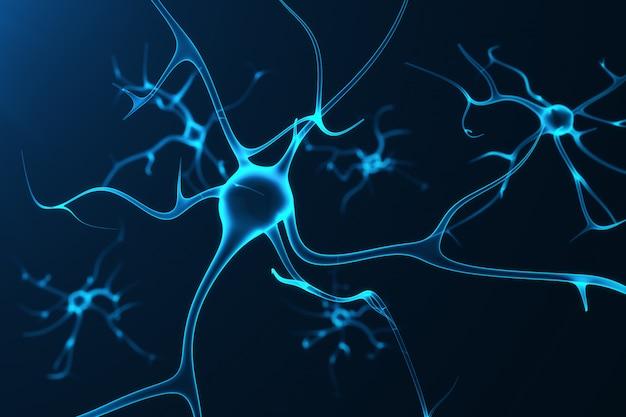 Концептуальная иллюстрация нейронных клеток со светящимися звеньями связи. синапсовые и нейронные клетки посылают электрохимические сигналы. нейрон взаимосвязанных нейронов с электрическими импульсами, 3d рендеринг
