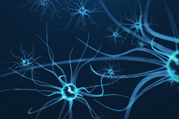 輝くリンクノットをもつニューロン細胞の概念図。電気化学信号を送信するシナプスとニューロンの細胞。電気パルスを備えた相互接続ニューロンのニューロン、3dレンダリング