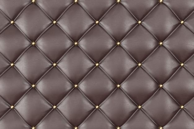 茶色の革張りソファの背景。茶色の豪華な装飾ソファ。パターンと背景のボタンでエレガントな茶色の革の質感。 3dレンダリング