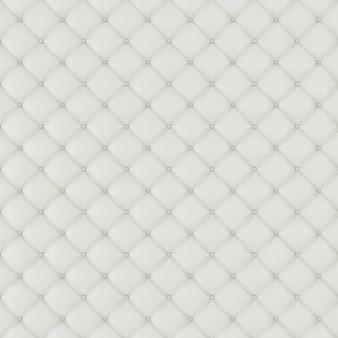 革張りのソファの背景。白の豪華な装飾ソファ。パターンと背景のボタンでエレガントな白い革の質感。グラフィックリソースのレザーテクスチャ、3dレンダリング