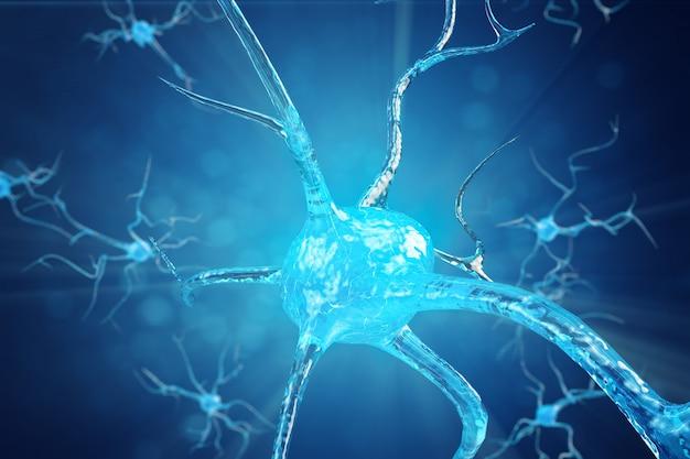 輝くリンクノットをもつニューロン細胞の概念図。電気化学信号を送信するシナプスとニューロンの細胞。電気パルスで相互接続されたニューロンのニューロン。 3dイラスト