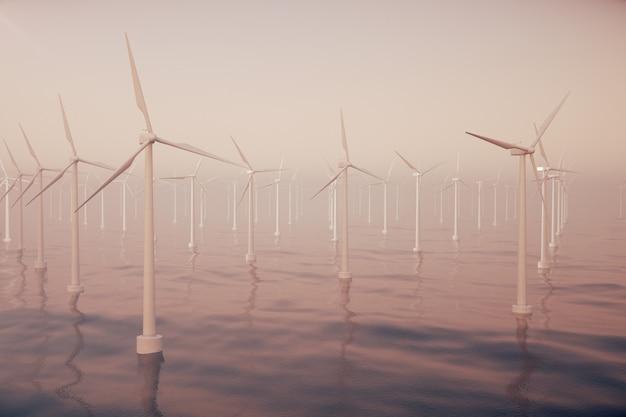 海、海の風力タービンの上の美しい夕日。クリーンエネルギー、風力エネルギー、生態学的な概念。 3dレンダリング