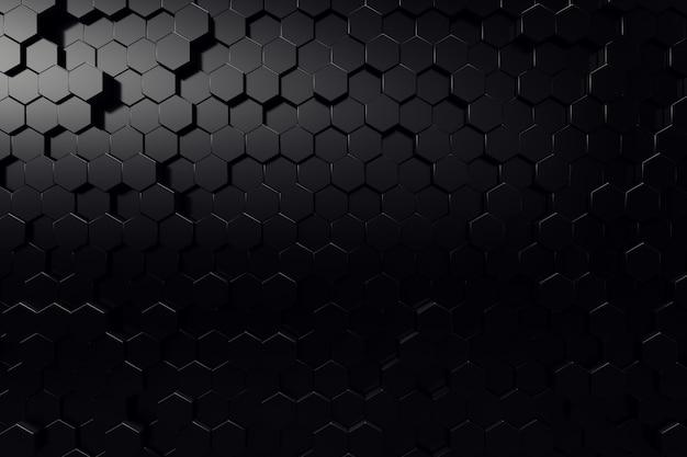 Абстрактная геометрическая поверхность. шестиугольный черный фон. 3d-рендеринг