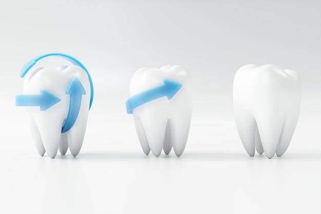 Зуб перевода 3d с выбором дантиста. концепция стоматологии, медицины и здоровья. гигиена полости рта, уход за полостью рта