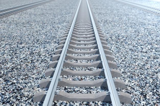 Железная дорога или железная дорога, стальная железная дорога для поездов. железнодорожные перевозки, железнодорожный туризм. транспортная концепция. 3d иллюстрация