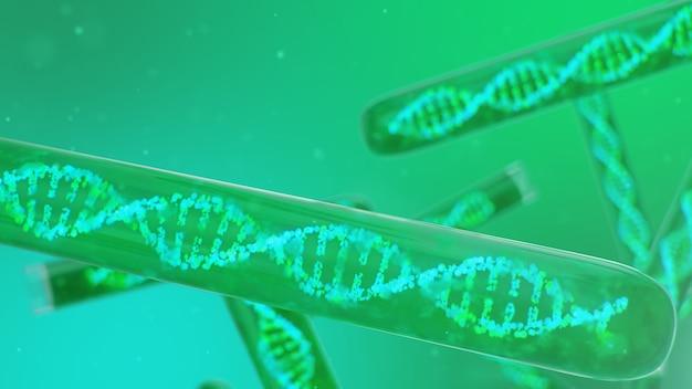3d иллюстрации молекула днк, ее структура. понятие генома человека