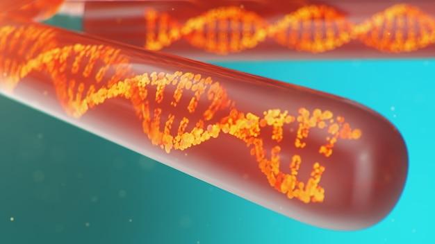 Молекула днк, ее структура. понятие генома человека. молекула днк с модифицированными генами. схематическая иллюстрация молекулы дна внутри стеклянной пробирки с жидкостью. медицинское оборудование, 3d иллюстрации