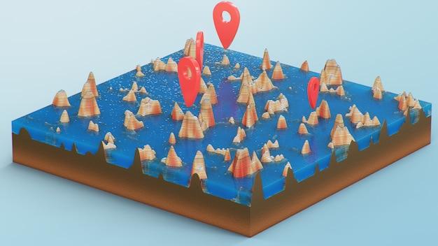 Красные указатели, маркеры на 3d карте навигации. контурные линии на топографической карте