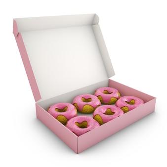 ボックスにピンクのアイシングでドーナツ。 3dレンダリング