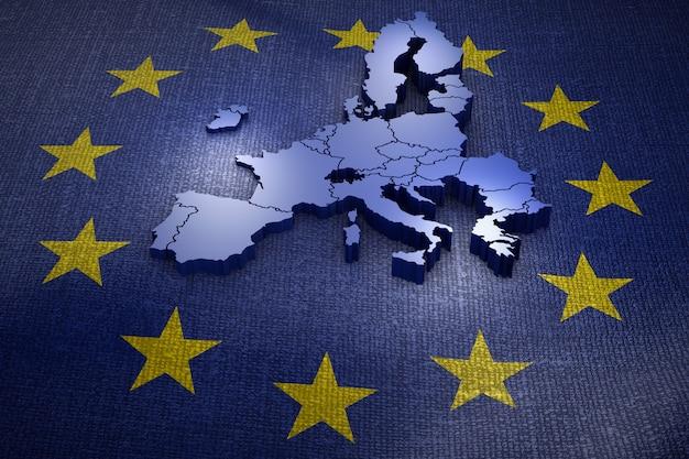 Объемная карта европейского союза на флаге. 3d-рендеринг.