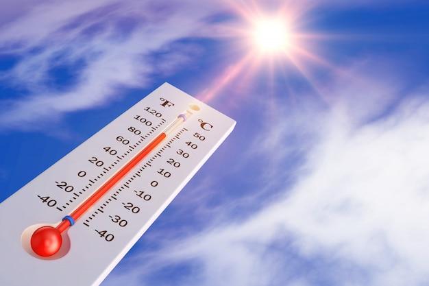 太陽の背景にある温度計。 3dレンダリング