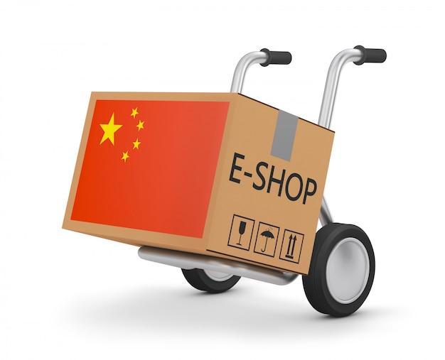 Картонная коробка с китайским флагом на ручной тележке. 3d визуализация