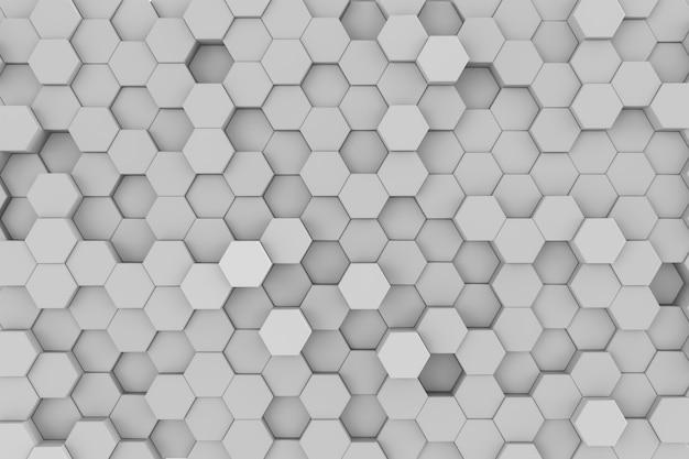 白の幾何学的な六角形の抽象的な背景。 3dレンダリング図