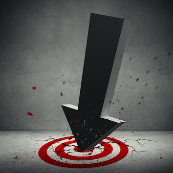 Иллюстрация 3d большой объемной стрелки разбила в красной цели на поле.
