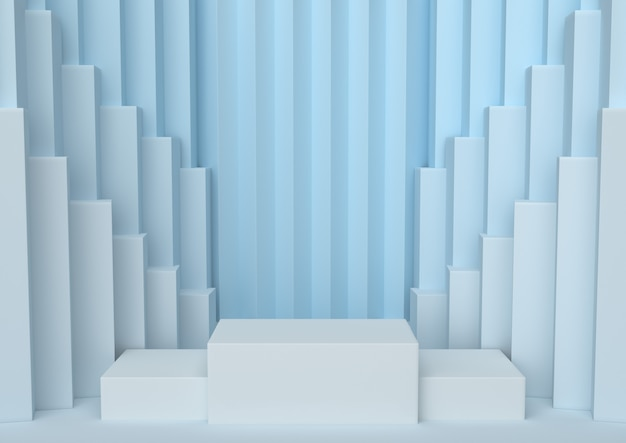 Подиум в рядах палитры спокойствия голубого абстрактного победителя мягких, 3d представляет.