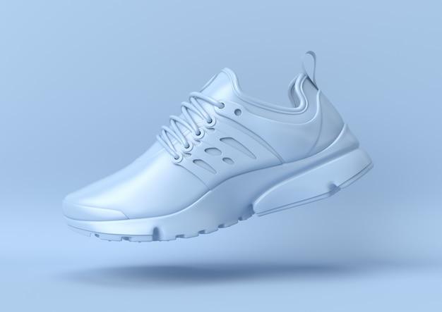 Креативная минимальная летняя идея. концепция синий ботинок с пастельных фоне. 3d визуализация.