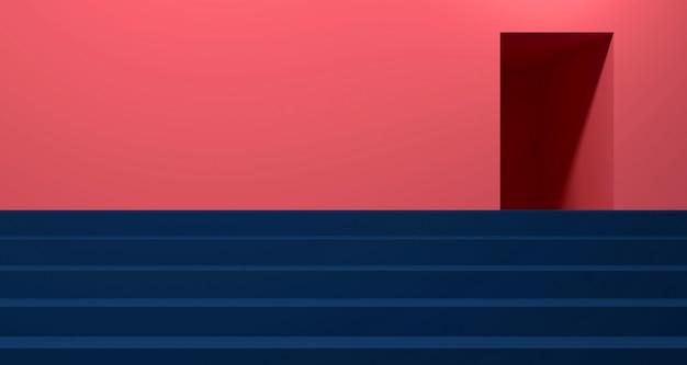 Косметическая витрина с кораллово-синим цветом. фон 3d-рендеринга.