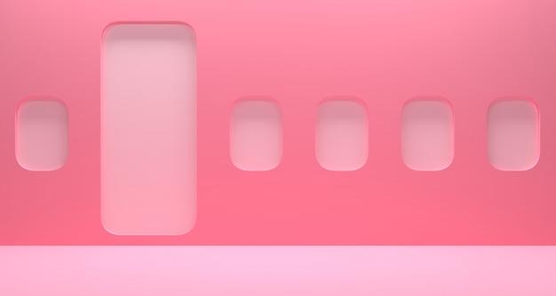 抽象的なピンク色の幾何学的形状の3dレンダリング、ショーケースと製品のディスプレイ用のモダンなインテリア飛行機。