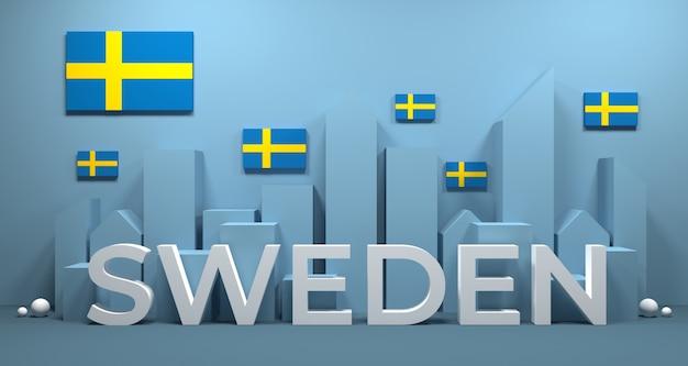 都市の建物のスウェーデンの旗の3dレンダリング。